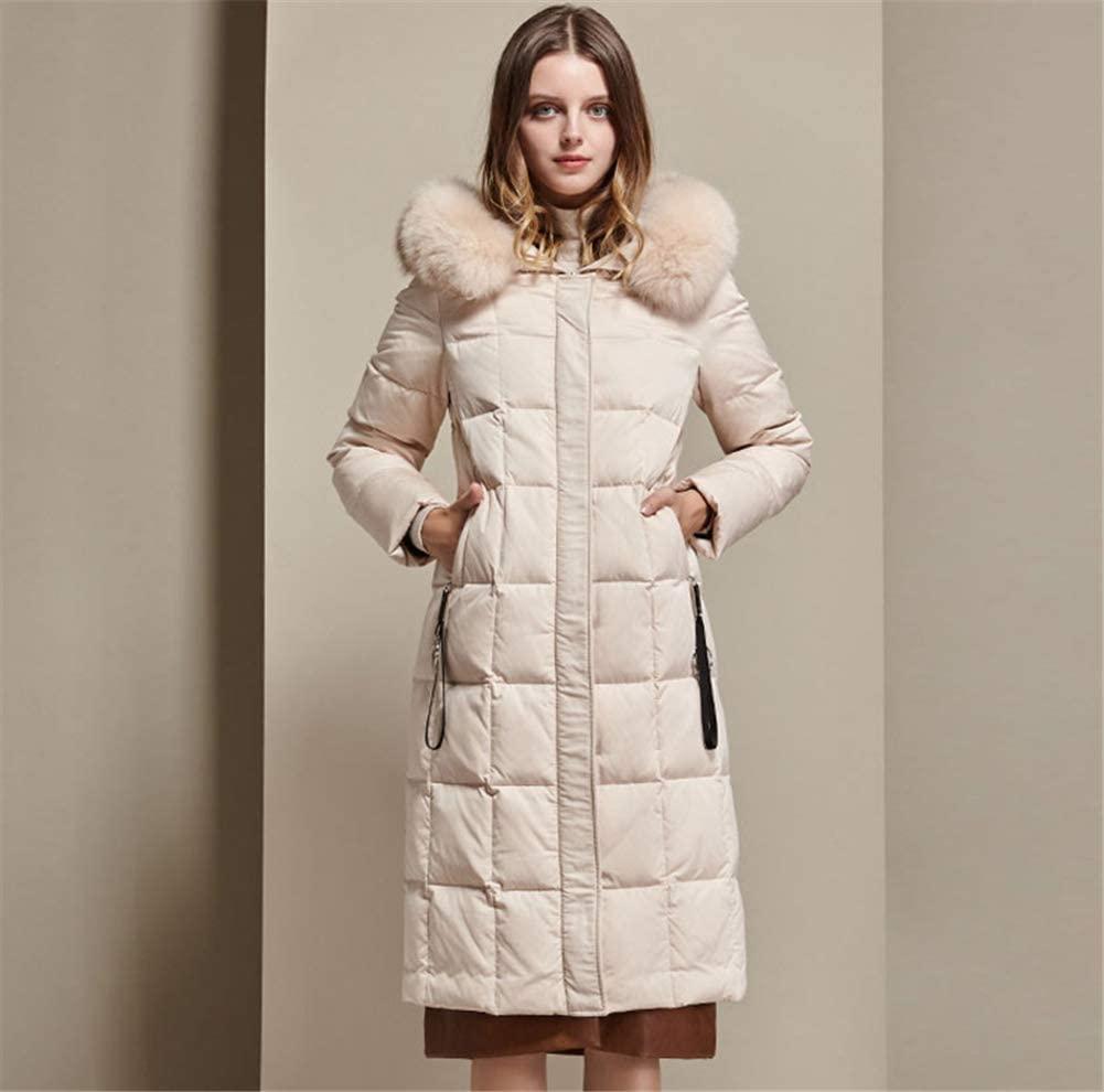 KLFSJD Down Jacket Women, Casual Fashion Big Fur Collar Winter Warm Hooded Coat, Long Cotton Padded Jackets Pocket Coats, Suitable for Ladies Winter Ski Wear,White,XXXL