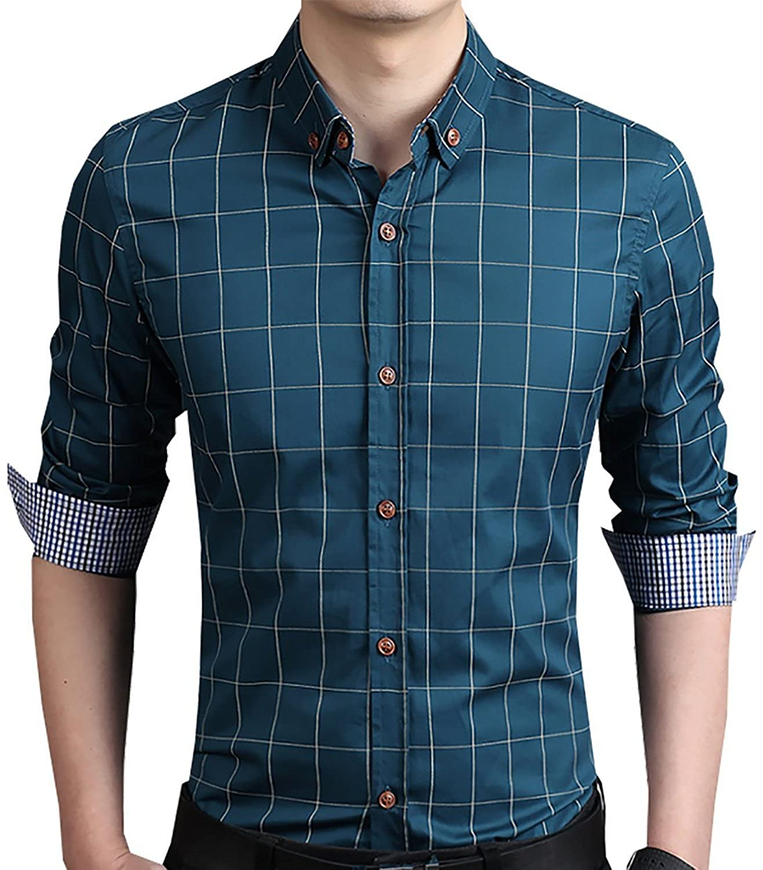 Aiyino Men's 100% Cotton Long Sleeve Plaid Slim Fit Button Down Dress Shirt