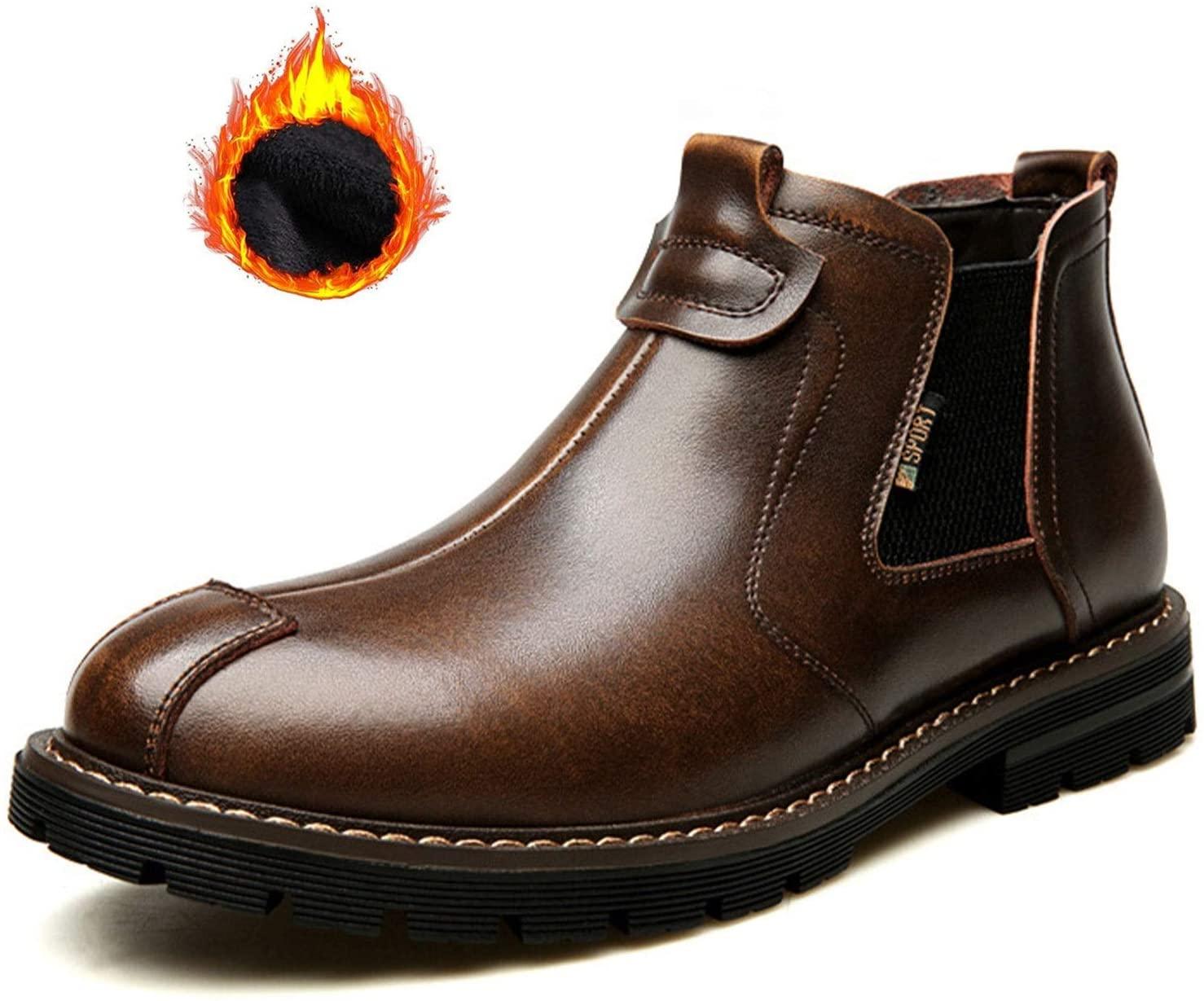QLT Chelsea Boots, Men's Warm high-top Shoes (Color : Brown, Size : US 8.5/UK 7.5/EU 42/JP 26)