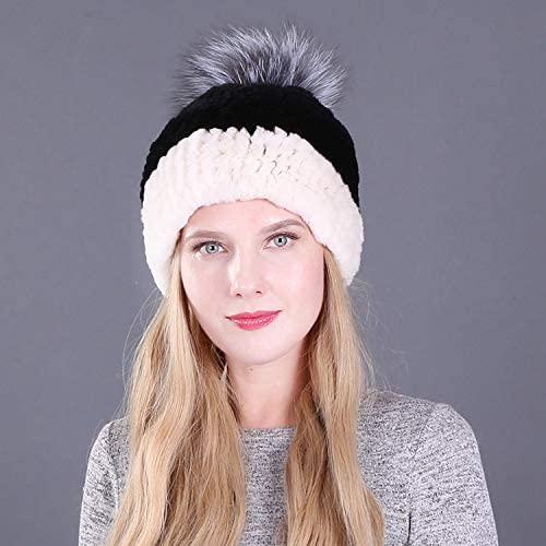 OG-Renstky Women Real Rabbit Fur Hats with Fur Pompom Knitted Beanies Fur Caps