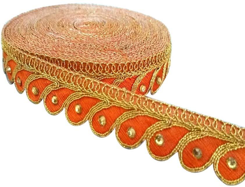 Yuktha Eternals Beautiful Embroidery Stone Work with Golden Zari Lace Border - 9 Yards X 2 cm