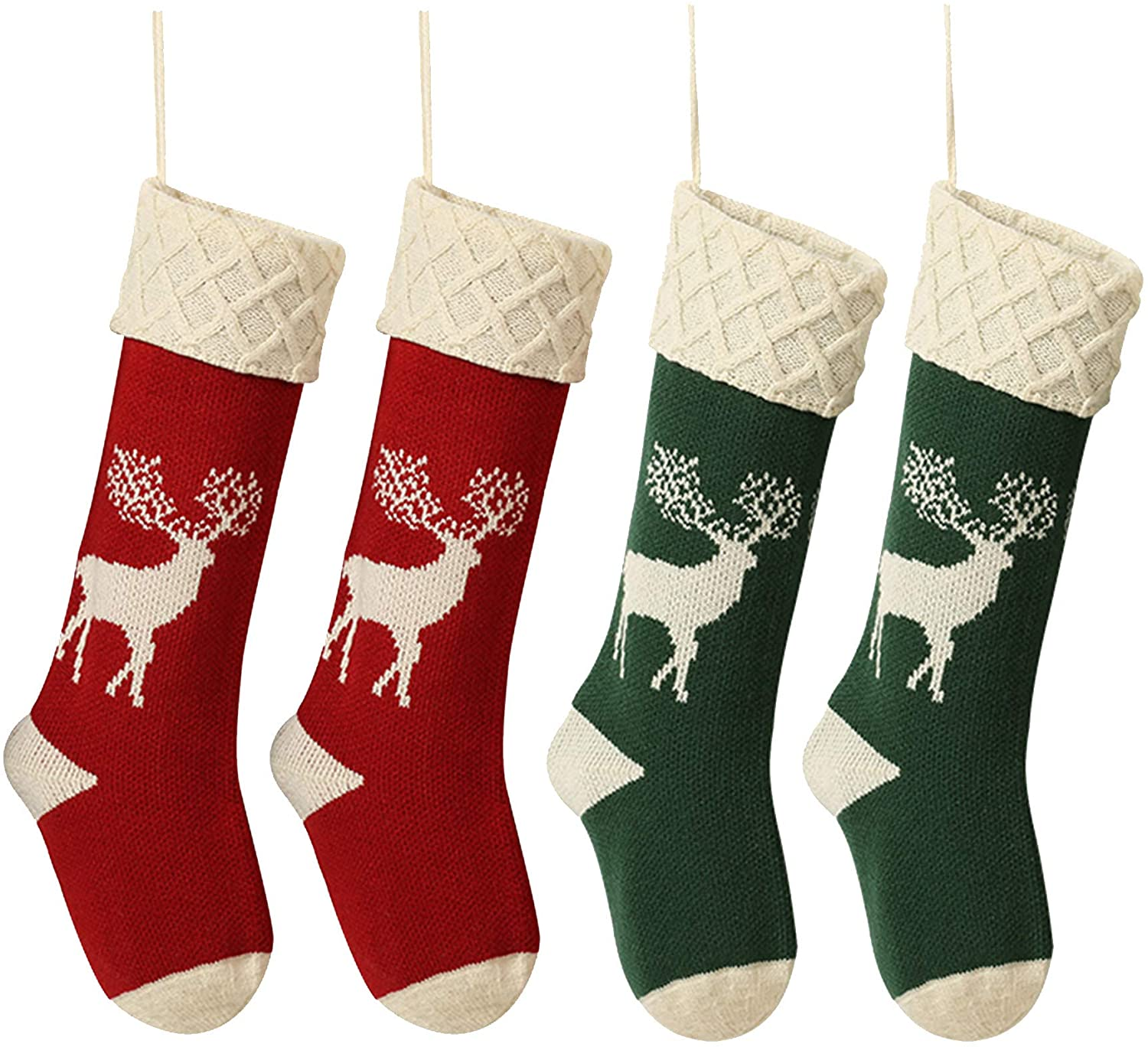 QIMENG Reindeer Christmas Stockings Red and Green 4 Pack 18