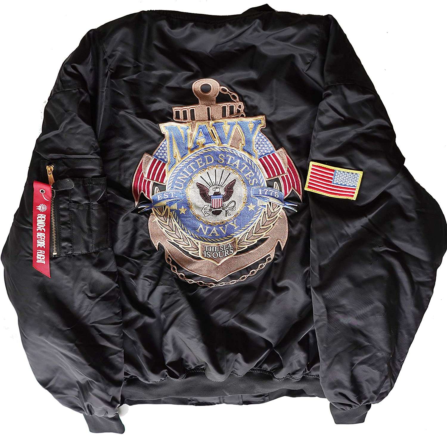 U.S. Navy EST 1775 The Sea is Ours MA-1 Flight Embroidered Bomber Jacket