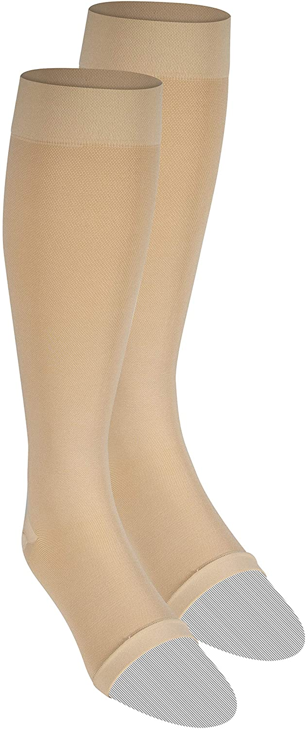Nuvein Compression Socks for Women and Men, Medical Support Stockings, Beige (Open Toe), Large (20-30 mmHg)