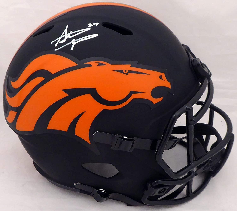 Steve Atwater Autographed Denver Broncos Black Eclipse Full Size Speed Replica Helmet Beckett BAS Stock #177484 - Autographed NFL Helmets