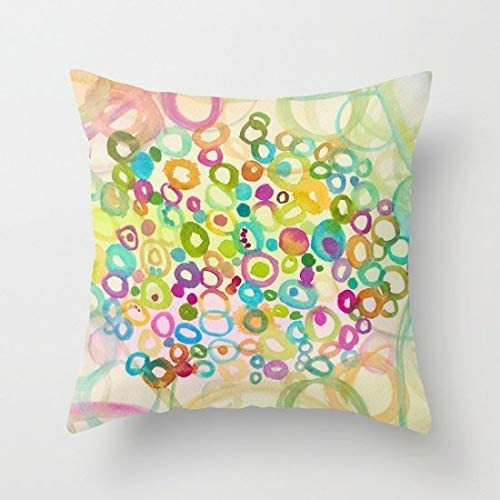 Flowershave357 Bright Throw Pillow Cover Connections Gold Teal Blue Turquoise Colorful Decor Pillows Cushions Throw Pillow Cover Dorm Apartment