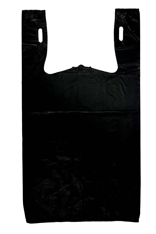 Plastic Bag-Black Plain Embossed T-Shirt Bag 11.5