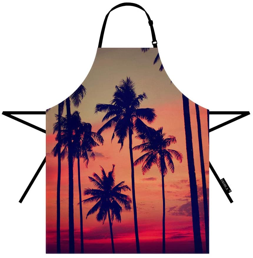 EKOBLA Coconut Palm Aprons Tree Summer Sunset Nightfall Clouds Sky Fantastic Landscape Waterproof Resistant Chef Cooking Kitchen BBQ Adjustable Aprons for Women Men 27x31 Inch