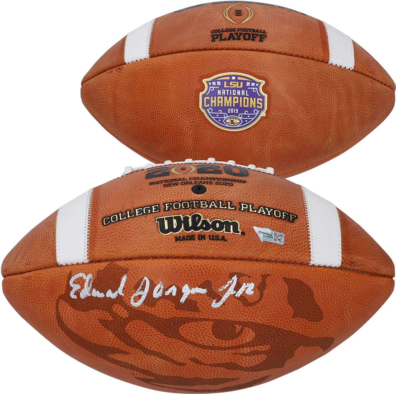 Ed Orgeron LSU Tigers Autographed College Football Playoff 2019 National Champions Logo Fanatics Exclusive Commemorative Football - Autographed College Footballs