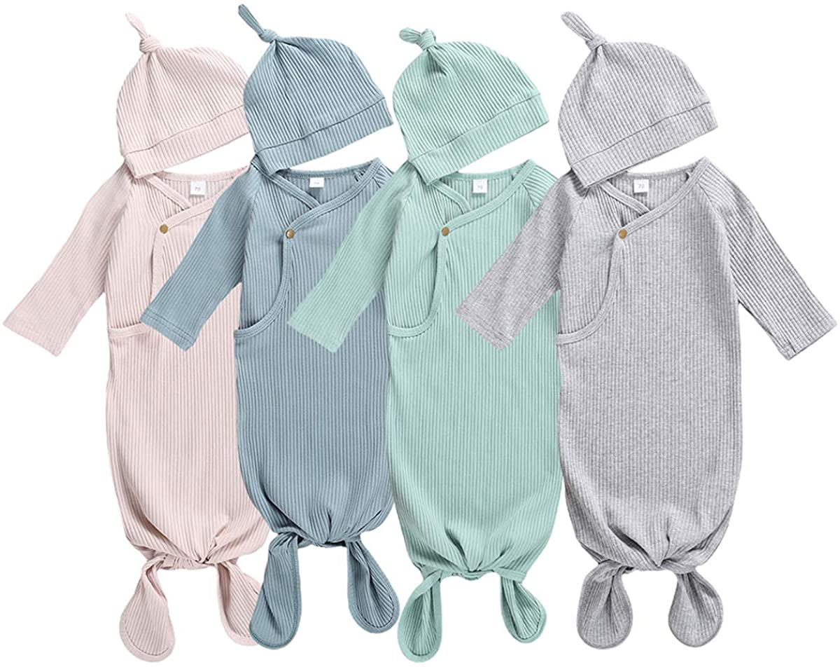 Newborn Baby Girls Boys Ribbed Cotton Knoted Nightgown + Hat Unisex Sleeper Toddler Gowns 2 Piece Set