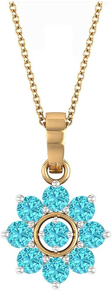 Swiss Blue Topaz Necklace, 1.32 CT Round Shaped 3.30 MM Gemstone, Gold Floral Jewelry Collection, Cluster Pendant Necklace, Valentines Gift For Her 18K Gold