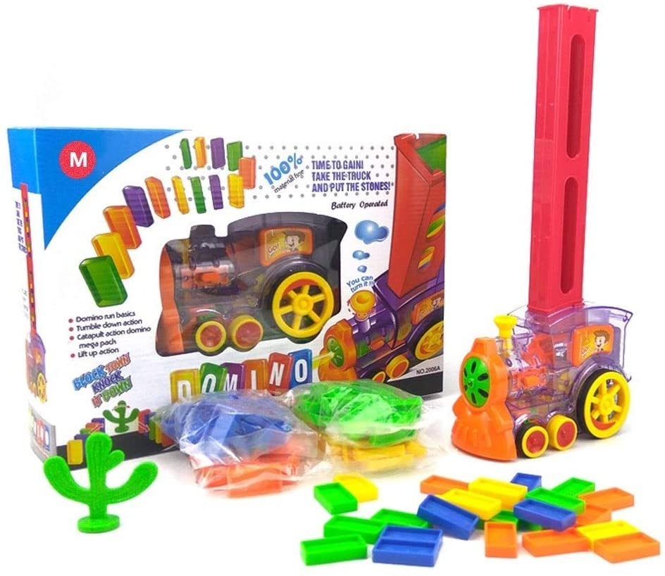 QINGQINGFEIYANG Domino Game Electric Train Children Develop Intellectual Toys Automatic Cars 80 Models Learning Education (Color : Multicolor)
