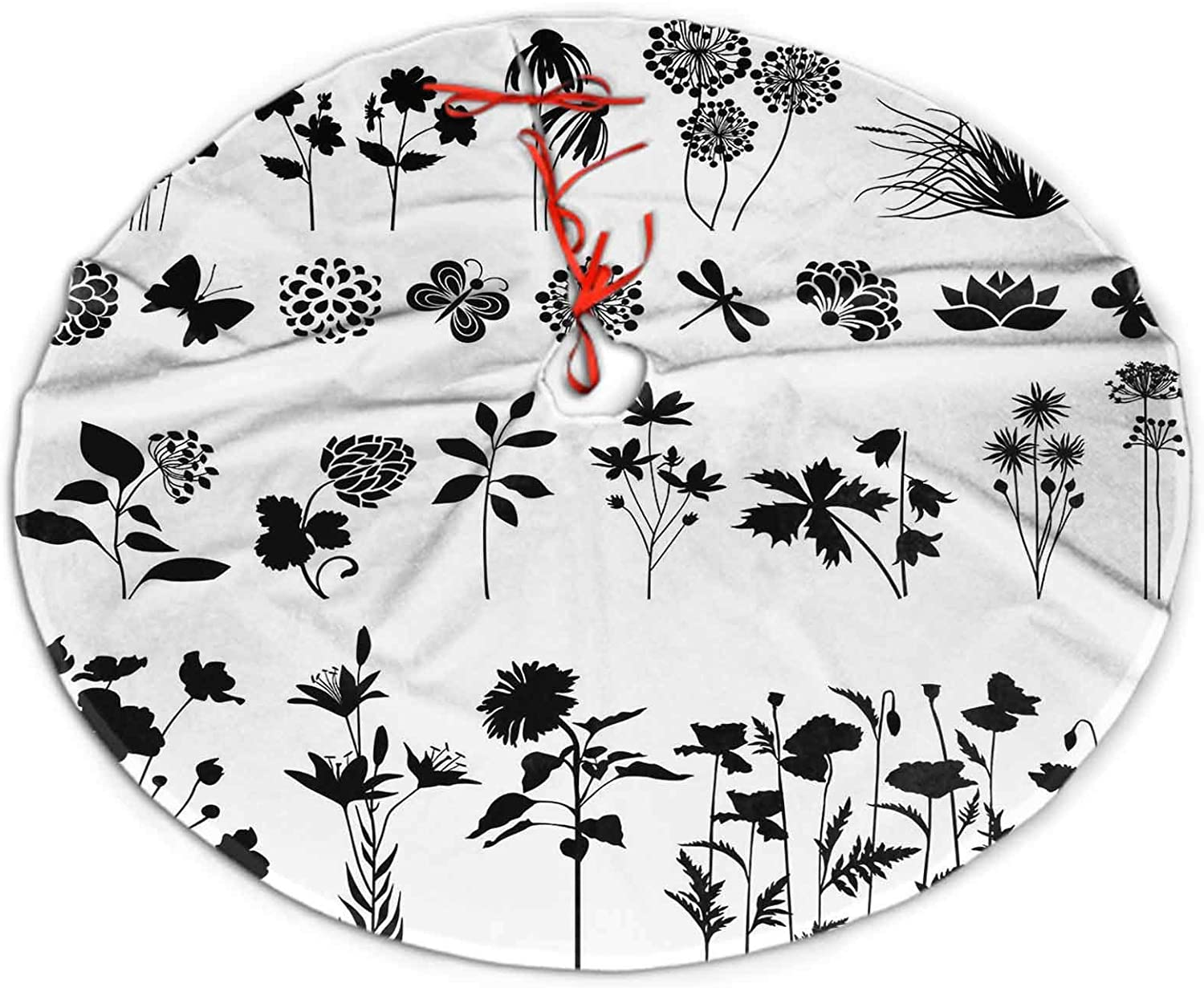 Christmas Tree Skirt Flowers and Plants Luxury Tree Skirts for Home Decoration 30