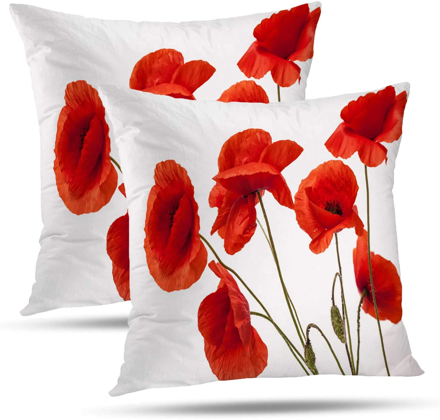 Batmerry Spring Pillows Decorative Throw Pillow Covers 18x18 Inch Set of 2, Poppy Flowers White Poppy Red Beautiful White Beauty Bloom Blossom Double Sided Square Pillow Cases Pillowcase Sofa Cushion