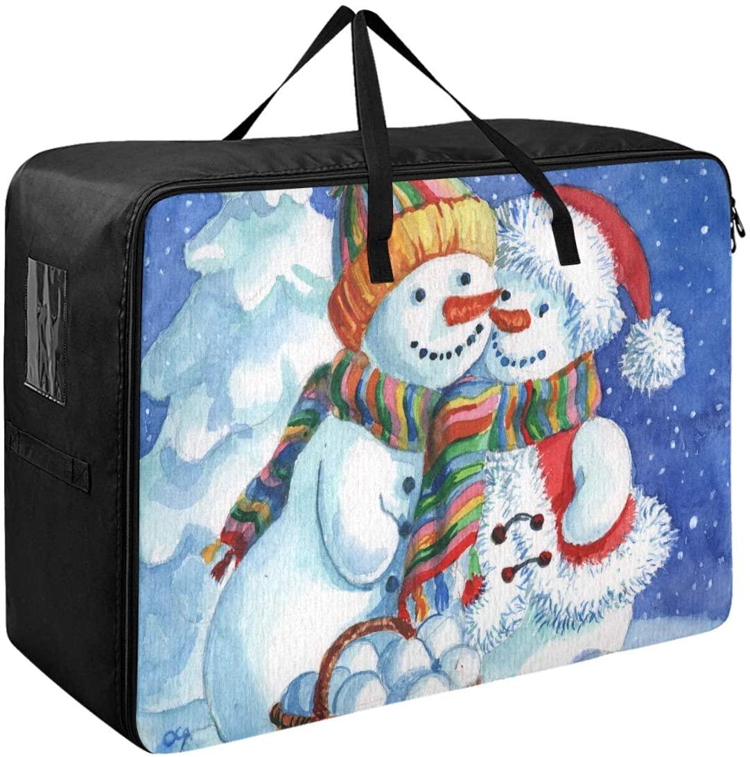 DOMIKING Under Bed Clothes Storage Bag - Valentine's Day Snowman Blanket Storage Large Storage Bins with Zipper Closet Organization 27.6x19.7x11inch