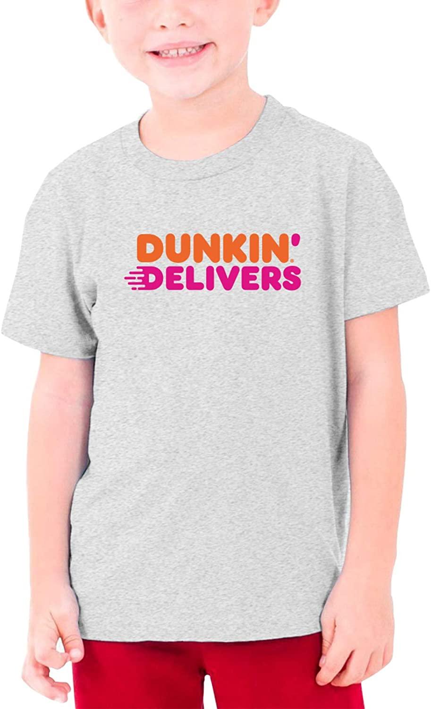 Dunkin- Donuts Girl Boy Round Neck Short Sleeve T-Shirt Black