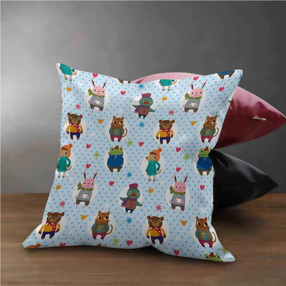Nursery Cushion Cover Decorative Collection of Animals with Winter Clothing Hats Hot Coffee on a Dotted Background Pillow Case for Couch/Sofa/Bedroom Multicolor (22x22)