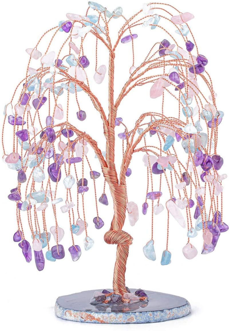 CrystalTears Natural Amethyst Rose Quartz Aquamarine Healing Crystal Money Tree Tumbled Crystal Gemstone Tree with Agate Slice Geode Base for Wealth Good Luck Home Decor 5.5