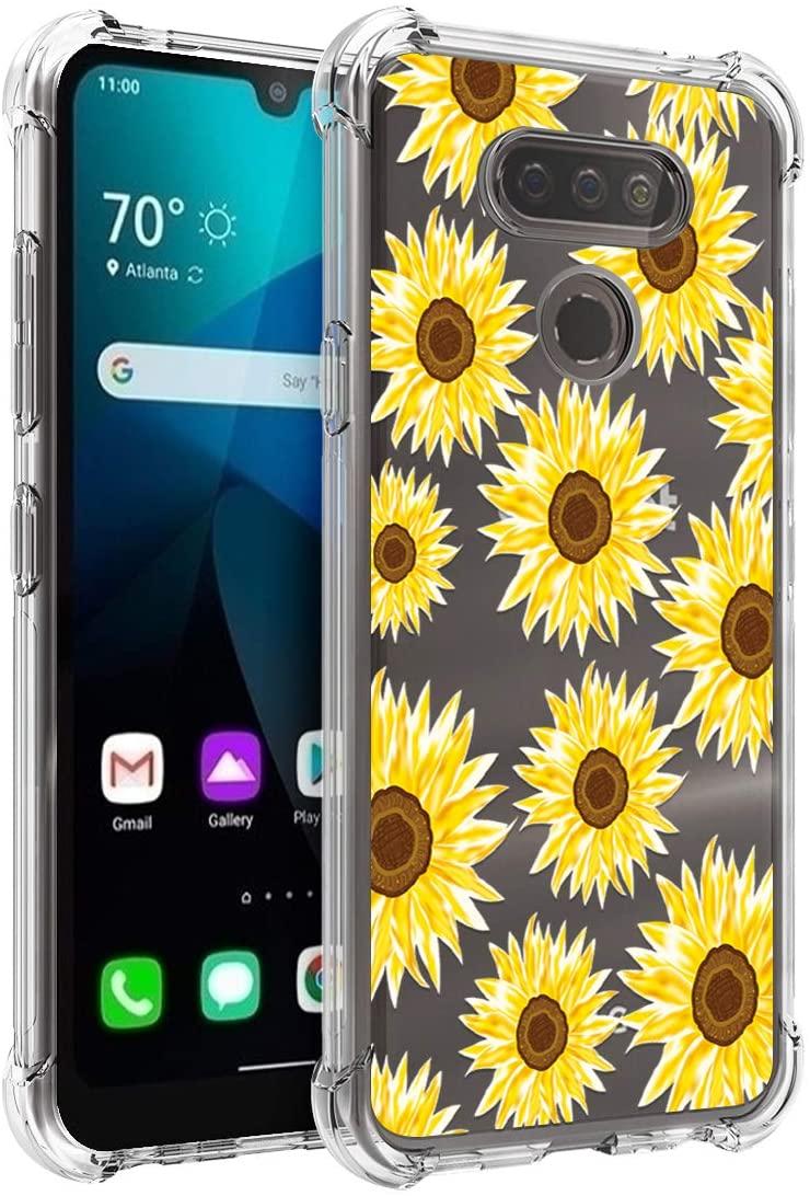 Osophter for LG Harmony 4 Case,LG Premier Pro Plus L455DL Case,LG K400QM Case,LG K400VPP Case,LG K41 Case,LG K400/K400AM Case Flower Floral for Girls Women Phone Cover for LG K41(Sun Flower)