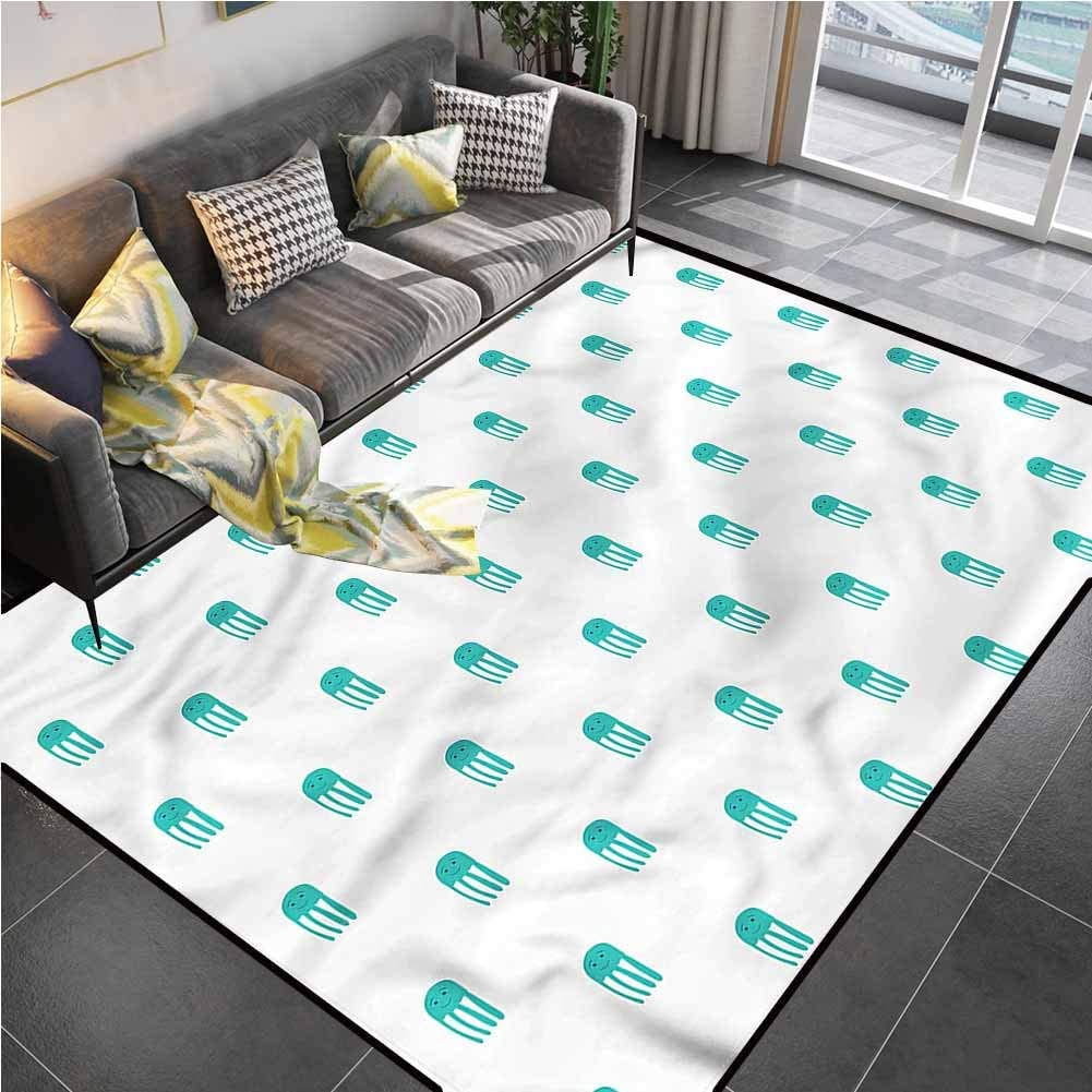 Area Rug Rugs Print Large Floor Mat Jellyfish,Funny Characters Kids Carpets for Living Dining Dorm Playing Room Bedroom 6'6