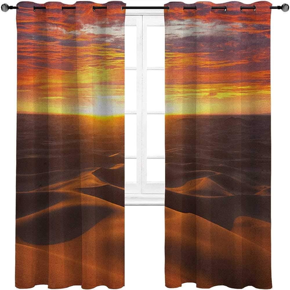 carmaxshome Kitchen Curtains 63 inch Length, Desert Drapes for Living Room - Dramatic Sunset Scenery at Sahara Dunes Arid Landscape Morrocco Summer Nature Each 36