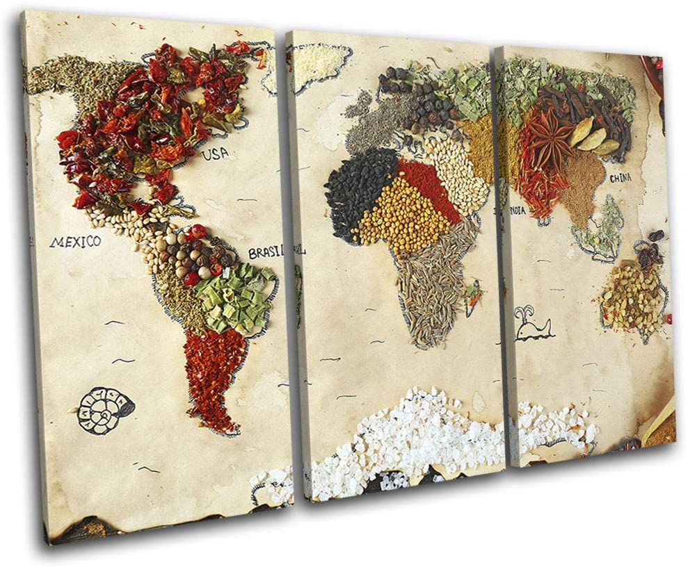 Bold Bloc Design - World Atlas Spices Kitchen Maps Flags 150x100cm Treble Canvas Art Print Box Framed Picture Wall Hanging - Hand Made in The UK - Framed and Ready to Hang 13-4312(00B)-TR32-LO-D