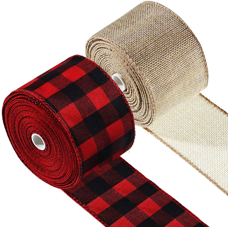 2 Rolls Christmas Gingham Ribbon Plaid Wired Edge Ribbons Plaid Burlap Ribbon Rustic Wrapping Ribbon for Christmas Party Wrapping Crafts Decoration (Red Black Plaid, Linen Color)