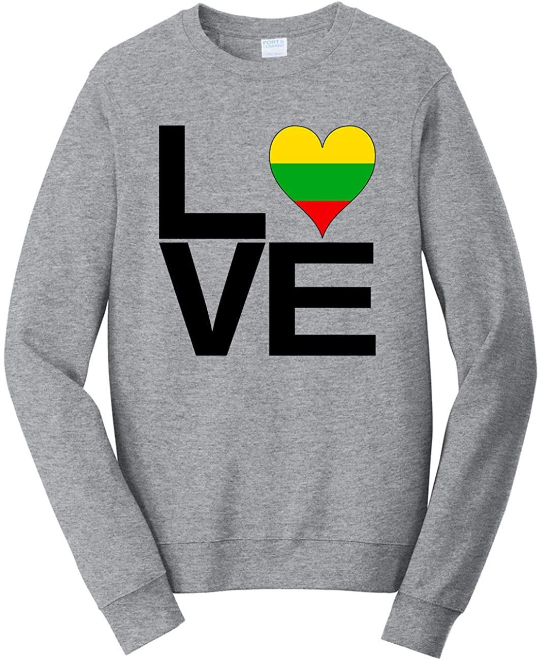 HARD EDGE DESIGN Unisex Love Block Lithuania Heart Sweatshirt, 4X-Large, Heather Grey