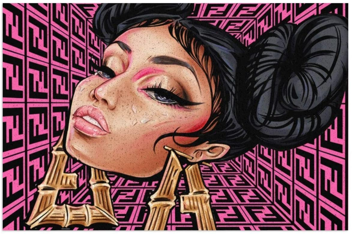 Vsadmall Nicki Minaj Anti-Slip PVC Mat Back,Indoor Outdoor,Silicone,Non-Slip,Doormat,Waterproof,Easy Clean,Low Profile Mat for Entry,Dust Trapper,Eco-Friendly 23.6x15.7 Inches