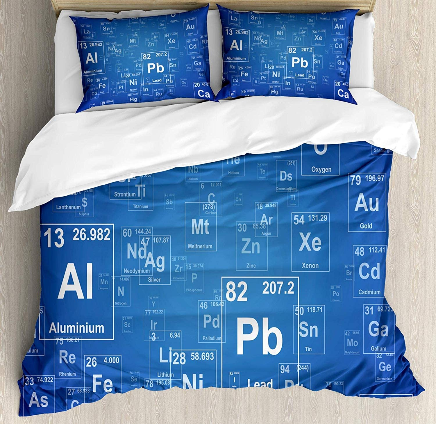 Science Duvet Cover Set, Chemistry Tv Show Inspired Image with Periodic Element Table Image Print Art, Decorative 3 Piece Bedding Set with 2 Pillow Shams,, Blue and White,King Size 104x90
