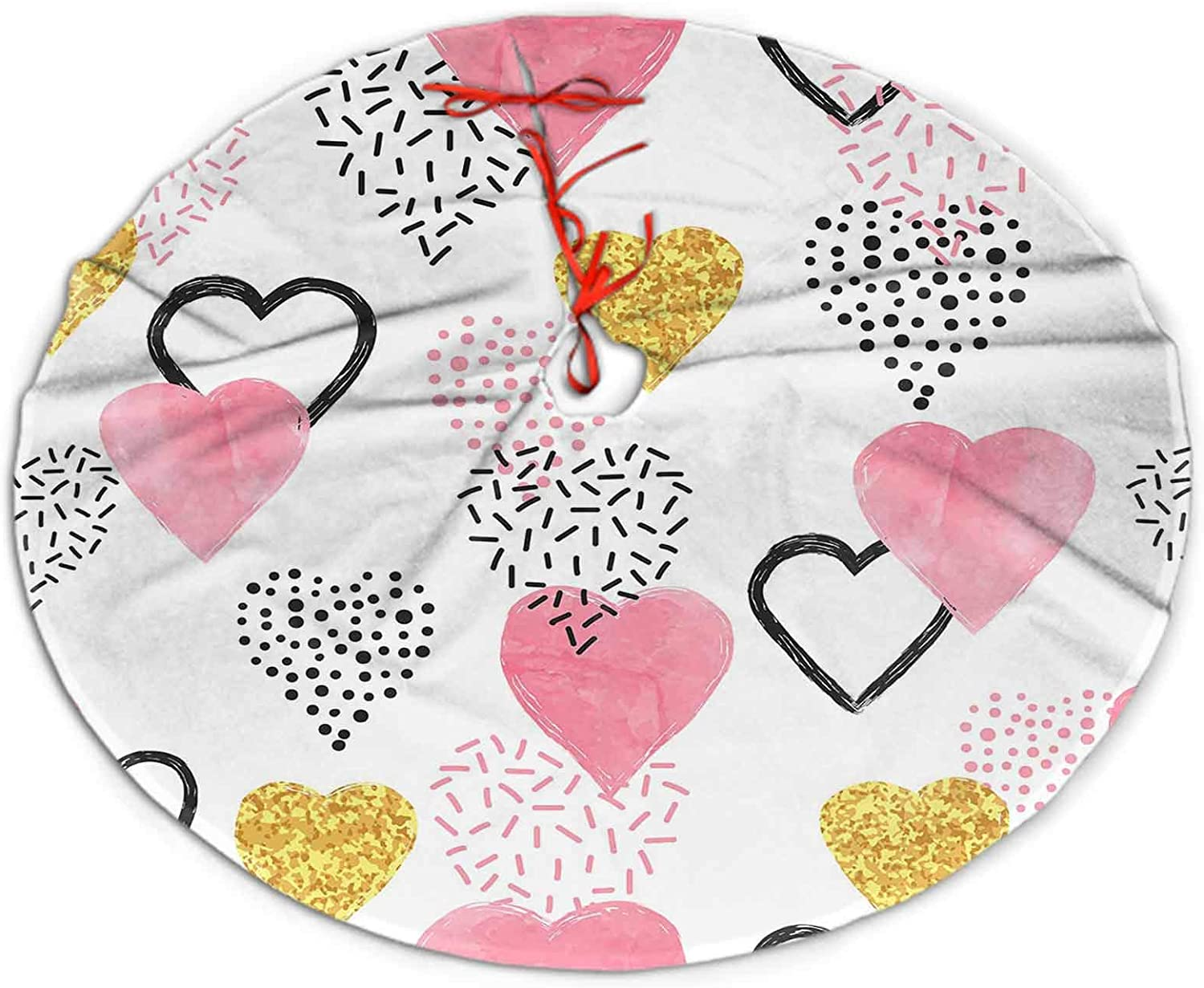 SoSung Christmas Tree Skirt Glittering Gold and Watercolor Pink Hearts Pattern Holiday Decorations for Christmas 30