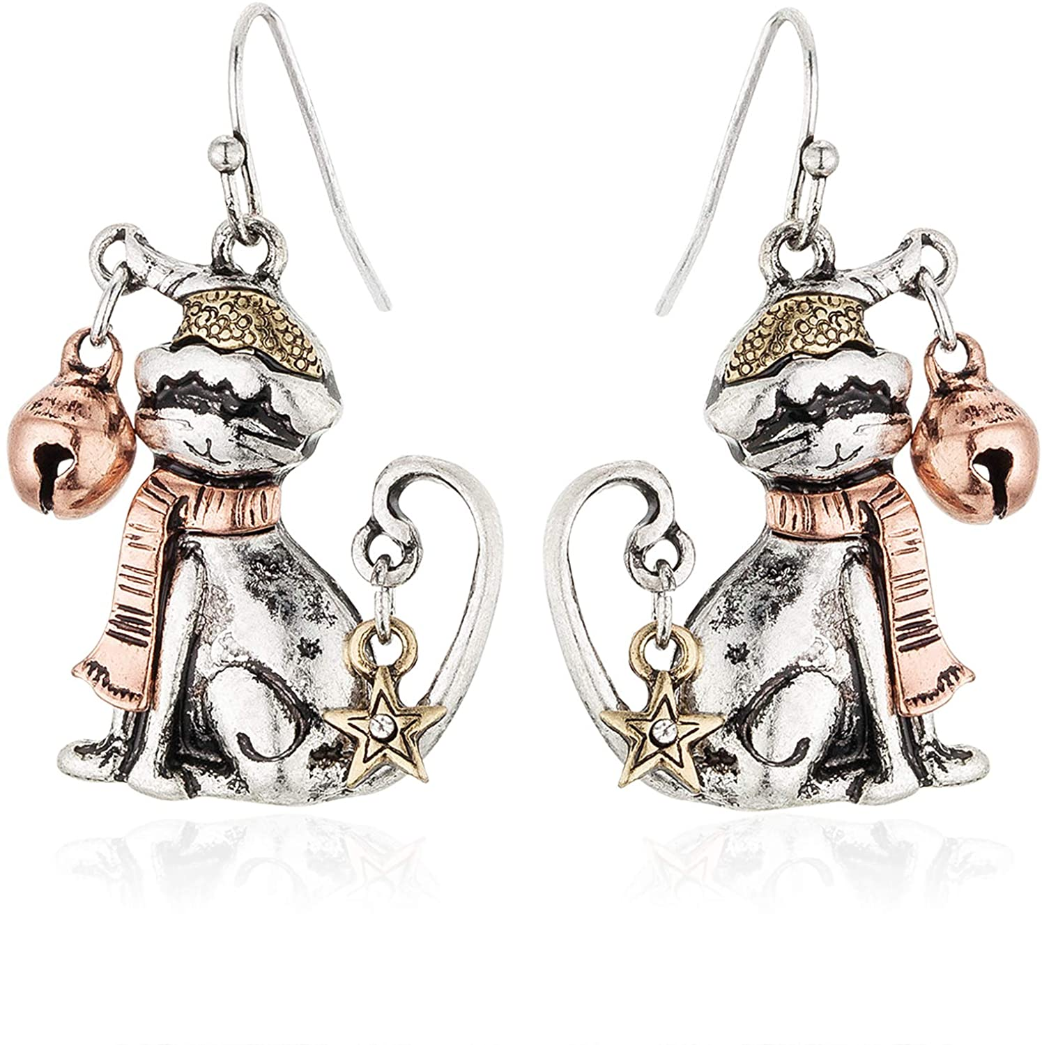 RareLove Christmas Cute Santa Cat with Ring Bell Piercing Dangle Earrings Two Tone Silver Rose Gold Plated Alloy Holiday Jewelry For Women Girls