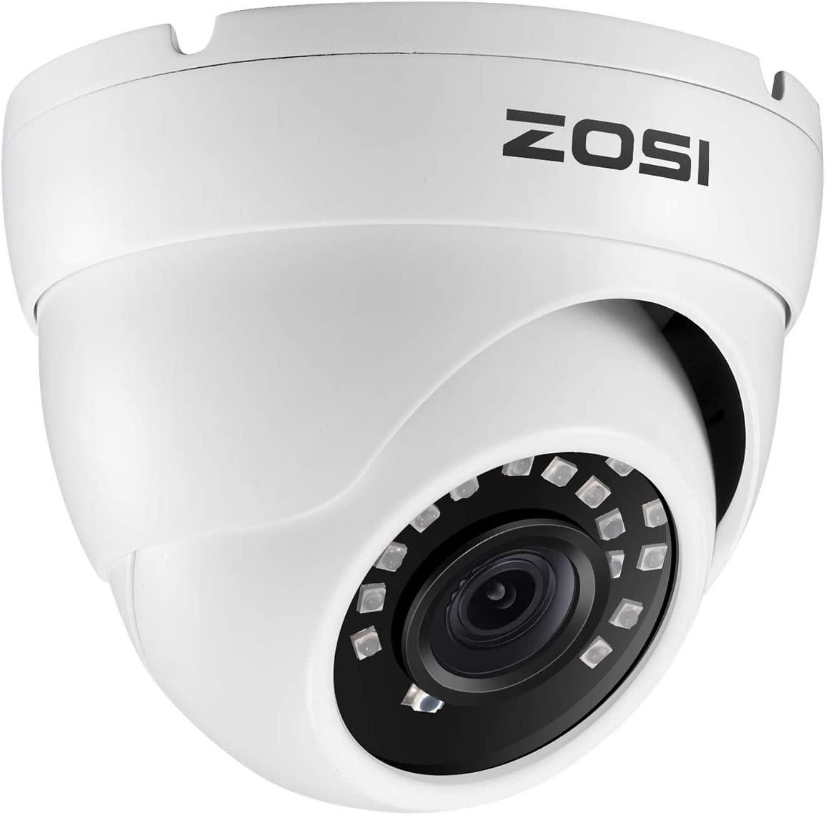 ZOSI 2.0MP 1080P HD 1920TVL Hybrid 4-in-1 TVI/CVI/AHD/960H CVBS Home Security CCTV Camera 24PCS IR-LEDs,80FT Night Vision Indoor Outdoor for 960H,720P,1080P,5MP,4K Analog Surveillance DVR (White)