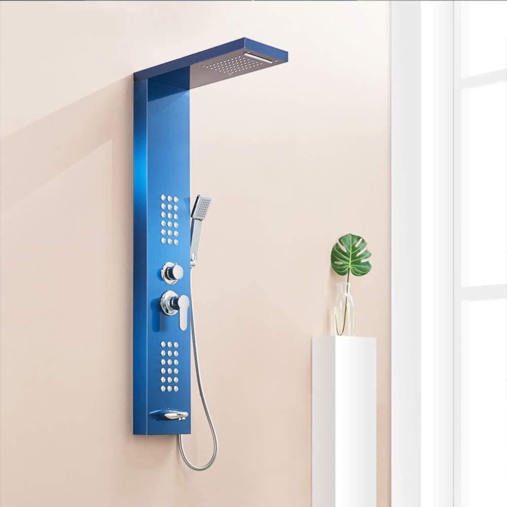 L.HPT Sapphire Bathroom Shower Panels,Stainless Steel Rain Waterfall Shower Panel Massage System Shower Column with Jets-Blue