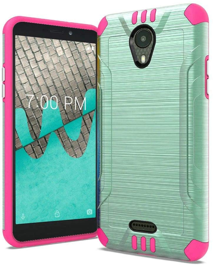 for ATT Radiant Core, Cricket Icon Smartphone Case, Phonelicious Slim Fit Dual Layer Shock Proof Lightweight Phone Cover Built in Magnetic Car Mount Compatible with Emblem Radiant Core (Teal/Pink)