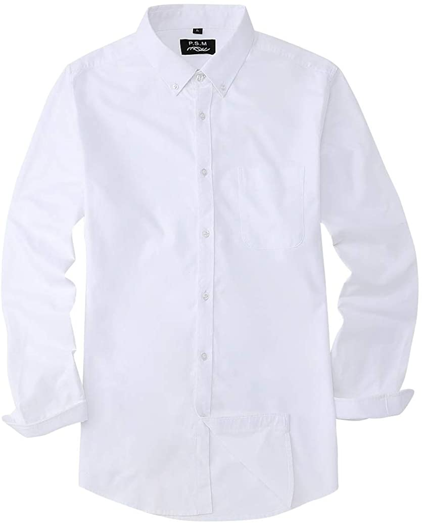 P.S.M Mens Dress Shirts Regular Fit Oxford Long Sleeve with Pocket