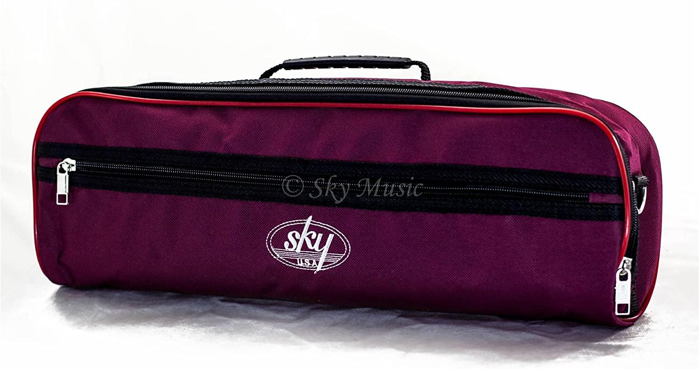 Sky Brand New C Flute Hard Case Cover w Side Pocket/Handle/Strap Burgundy Color