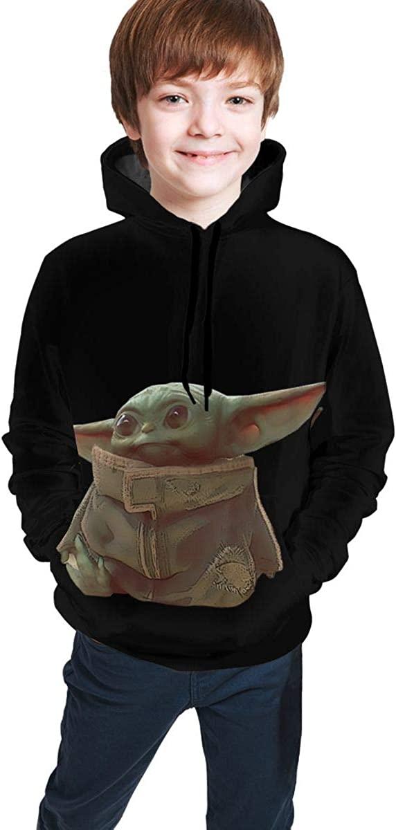 Five5 Mandalorian-Baby-Yoda Boys Girls Youth Long Sleeve Hooded Sweat Shirt Pullover Black