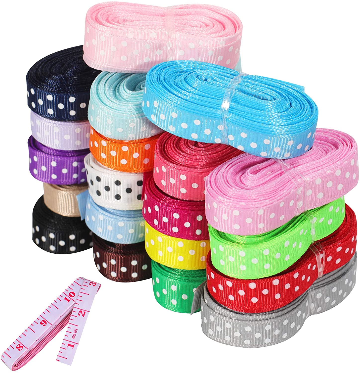 Grosgrain Ribbon for Gift Wrapping, 3/8'' Ribbon for Crafts, 40 Yards Polka Dot Fabric Ribbon 20 Colors 2 Yards, Multicolor Ribbon for Sewing, Birthday/Christmas Decoration, Hair Bow Accessories DIY