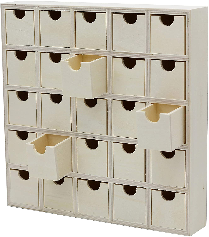 Creative Hobbies 25 Drawer Wooden Advent Calendar, DIY Unfinished Storage Box, Ready to Decorate, Pre Assembled, Storage Organizer