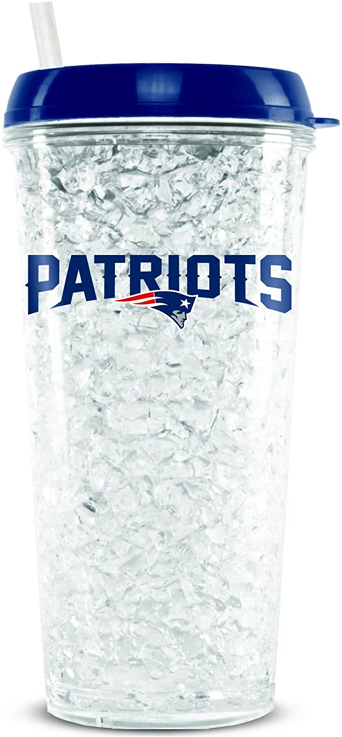 NFL New England Patriots 16oz Crystal Freezer Tumbler with Lid and Straw