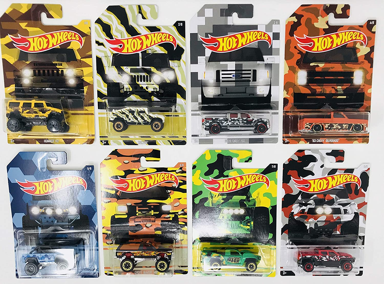 Hot Wheels 2017 Camouflage Series Bundle of 8 Die-Cast Vehicles 1:64 Scale