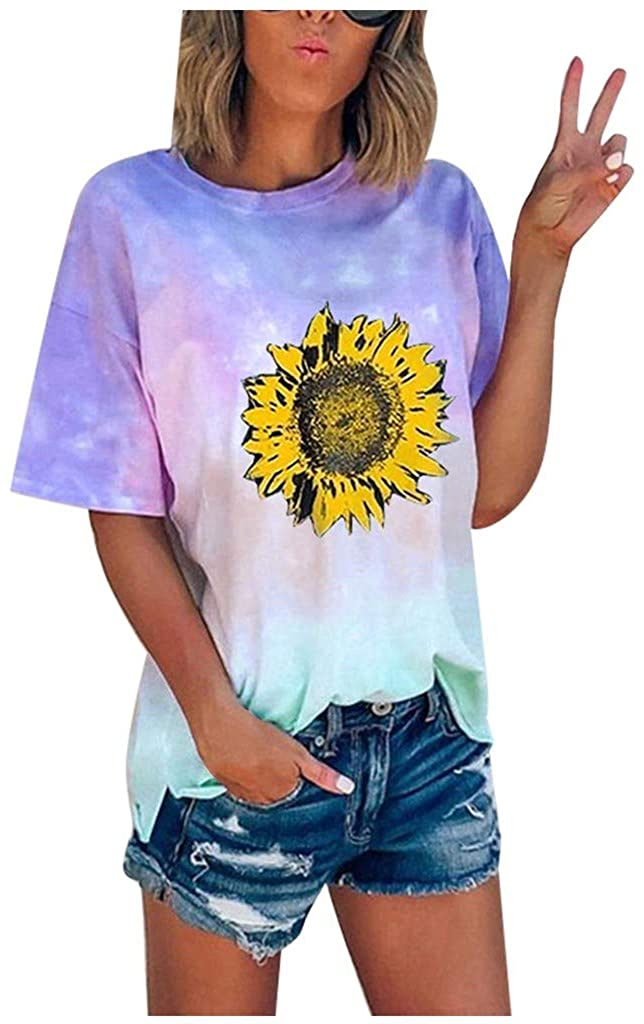 Dosoop Womens Sunflower Printed Shirts Tie Dye Graphic Short Sleeve Casual Crewneck Tee Tops Blouse Summer T Shirt S-5XL