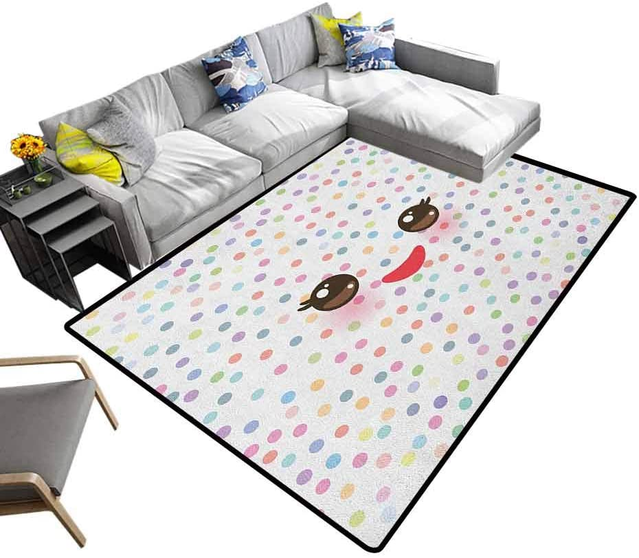 Nursery Rugs Eyelash, Modern Abstract Colorful Area Rug Kawaii Funny Muzzle with Pink Cheeks and Cute Eyes on Colorful Polka Dots Backdrop Add Fashion to Room's Decor Multicolor, 6.5 x 10 Feet