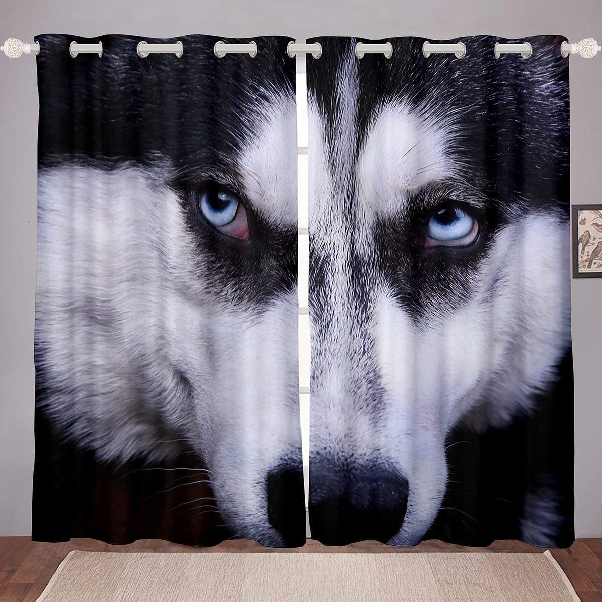 Erosebridal Husky Window Treatments for Kids Teens Adults, Puppy Pet Animal Dog Silhouette Window Drapes, Boys Girls Room Decor Living Room Curtain Panels Shading, 104W96L, Black White