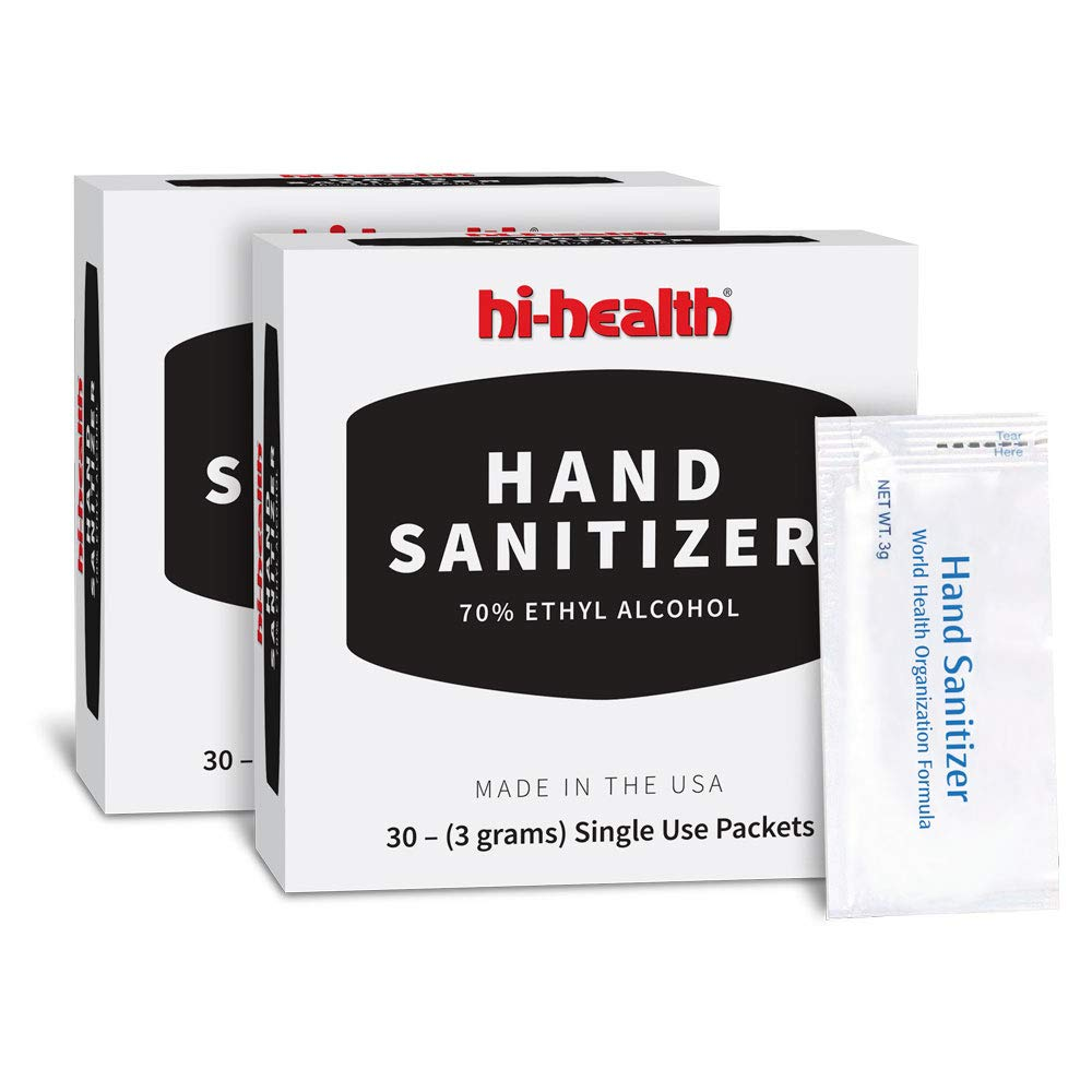 Hi-Health Hand Sanitizer Packets 2x30pk - MADE IN USA! - 70% Ethyl Alcohol