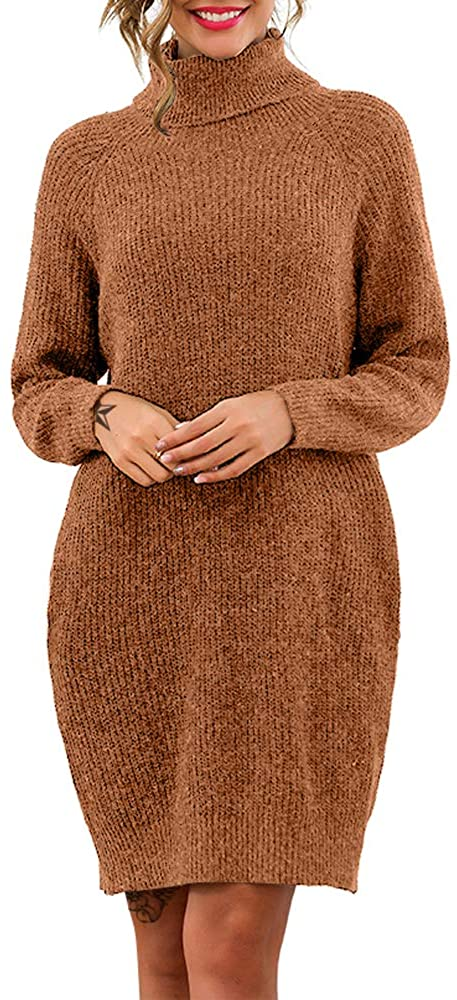 Exlura Women's Loose Turtleneck Long Sleeve Knit Pullover Sweater Dress with Pockets