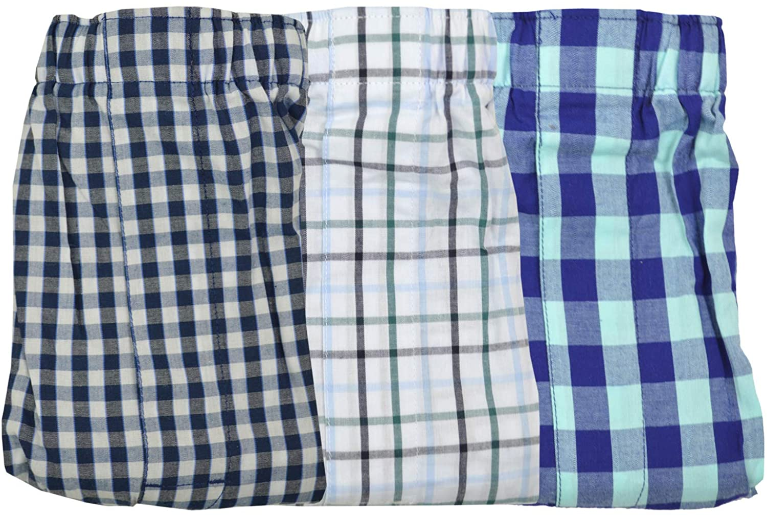 Banana Republic Mens 100% Cotton Elastic Waistband 3 Pack Boxers Blue Gingham Plaid Light Blue