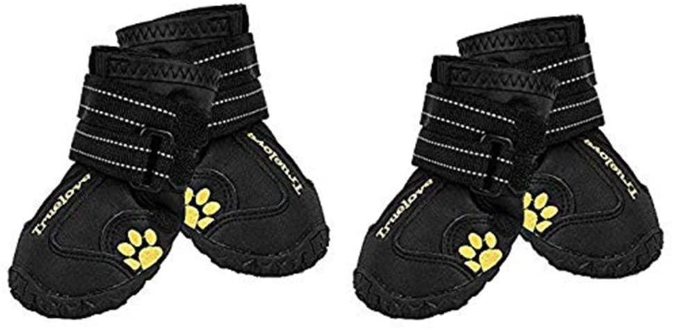 EXPAWLORER Waterproof Dog Boots Reflective Non Slip Pet Booties for Medium Large Dogs Black 4 Pcs