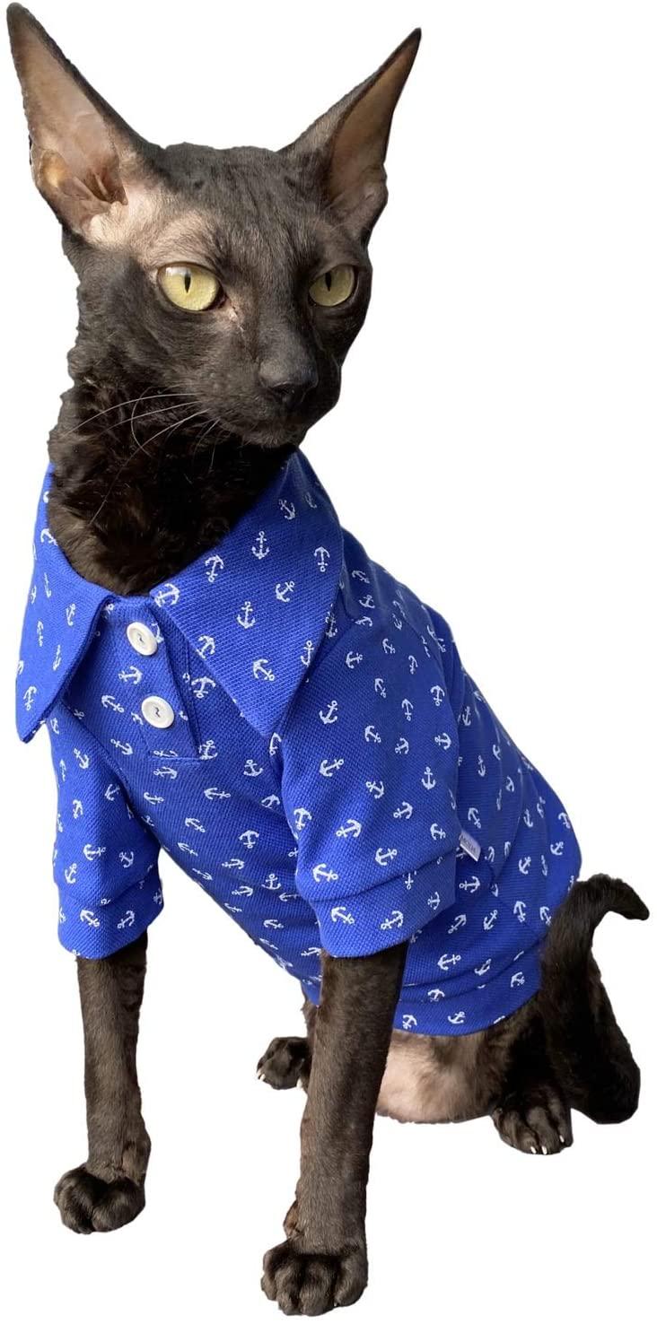 Kotomoda Hairless Cat's Clothes Cotton Polo Sailor for Sphynx Cats